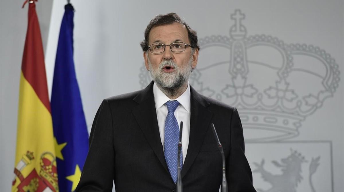 Mariano Rajoy anuncia la fecha de las elecciones, el pasado viernes 27 de octubre en la Moncloa.