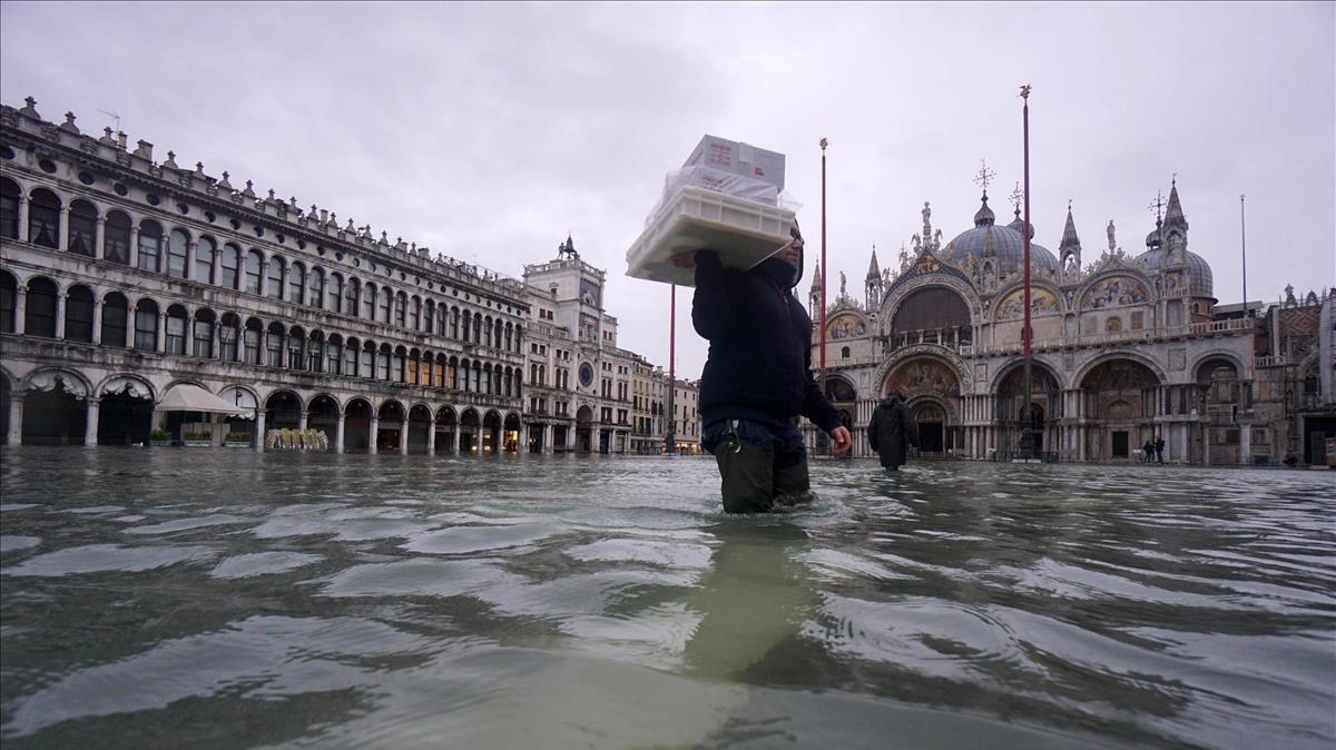 La plaza de San Marcos deVenecia, inundadael pasado día 24.