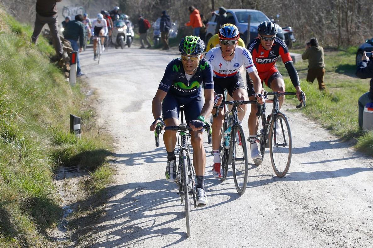 Alejandro Valverde, en la Strade Bianche.