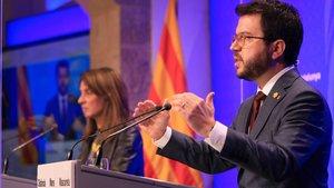 El vicepresidente Pere Aragonès y la consellera Meritxell Budó.