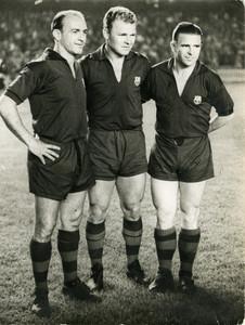 Di Stéfano, amb Kubala i Puskas durant l'homenatge que se li va fer a Kubala.