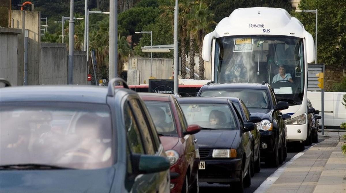 Un autocar escolar en Barcelona.
