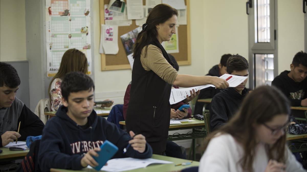 Pruebas de competencias básicas de cuarto de ESO en el instituto Joan Brossa de Barcelona en febrero del 2017.