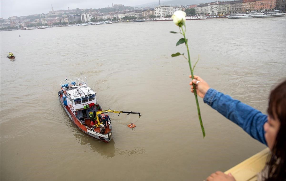 Una mujer lanza una rosa al Danubio en Budapest (Hungría).