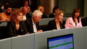 Munté, en el momento en el que ha explicado por qué Junts per Catalunya abandonaba la comisión de Derechos Sociales.
