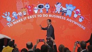 Daniel Zhang, durante la salida de Alibabá a la Bolsa de Hong Kong.