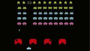 Una pantalla del pionero videojuego de 'arcade' Space Invaders, popularmente conocido como 'los marcianitos'.