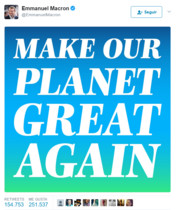El tui de Macron con el mensaje Make our planet great again.