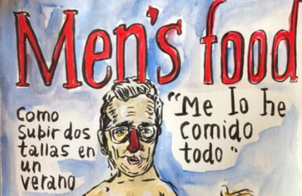 Caricatura de Buenafuente parodiando la portada de Mens Health de Manel Fuentes.