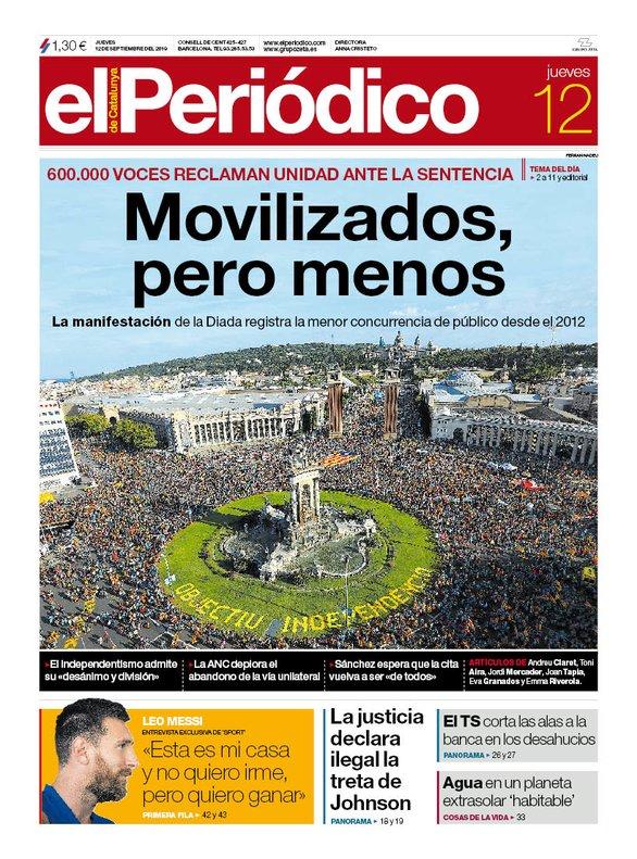 La portada d'EL PERIÓDICO del 12 de setembre del 2019