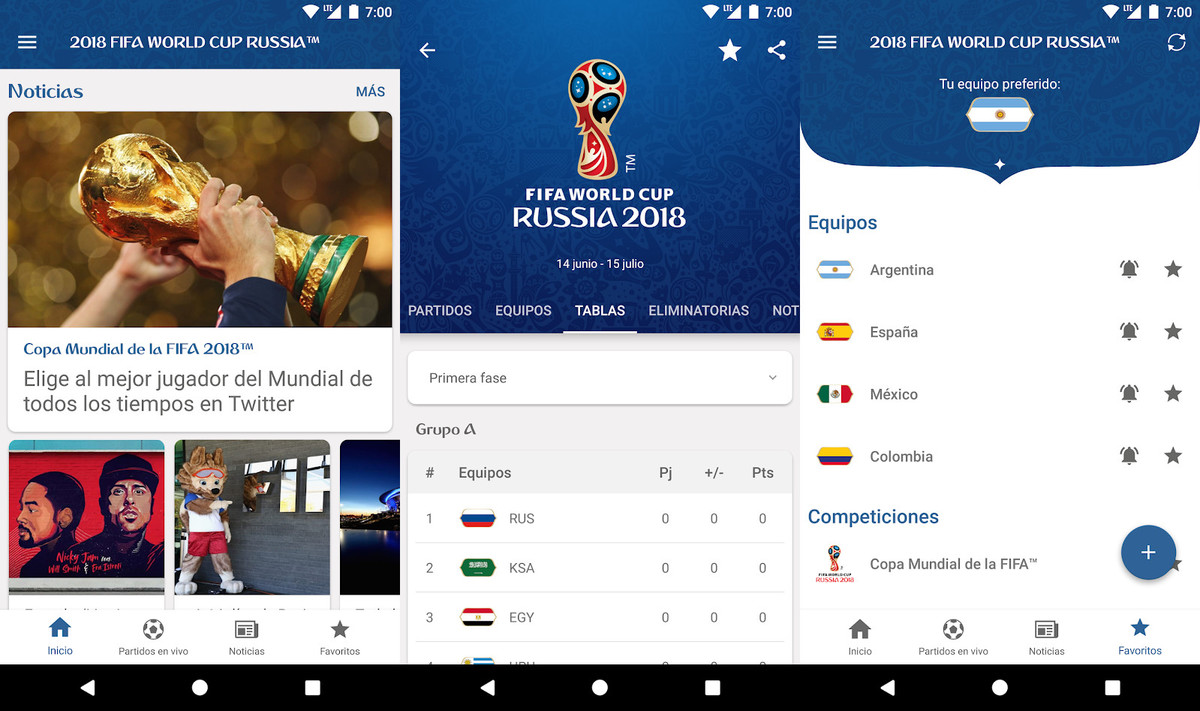 App del Mundial de Fútbol de Rusia 2018 de la FIFA.