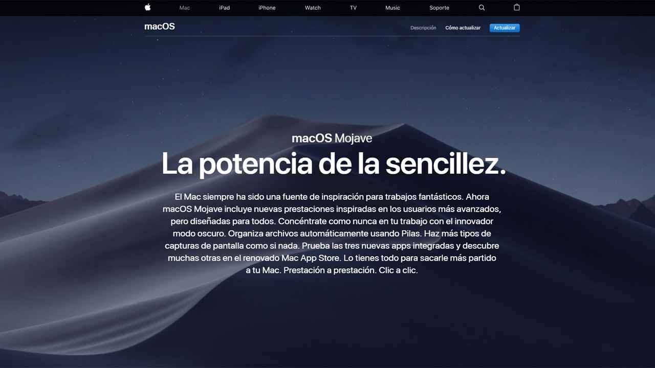 Apple pone hoy a la venta el sistema operativo MacOS Mojave, con modo oscuro.