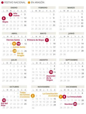 Calendario laboral de Aragón del 2020.