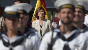Carmen Calvo, el pasado 10 de agosto, en Sevilla, durante la celebración del quinto aniversario de la primera vuelta al mundo.