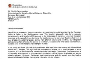 Carta de Puigdemont al comisario de Inmigración de la UE.