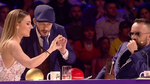 David Collado con Edurne y Risto Mejide en la semifinal de Got talent.