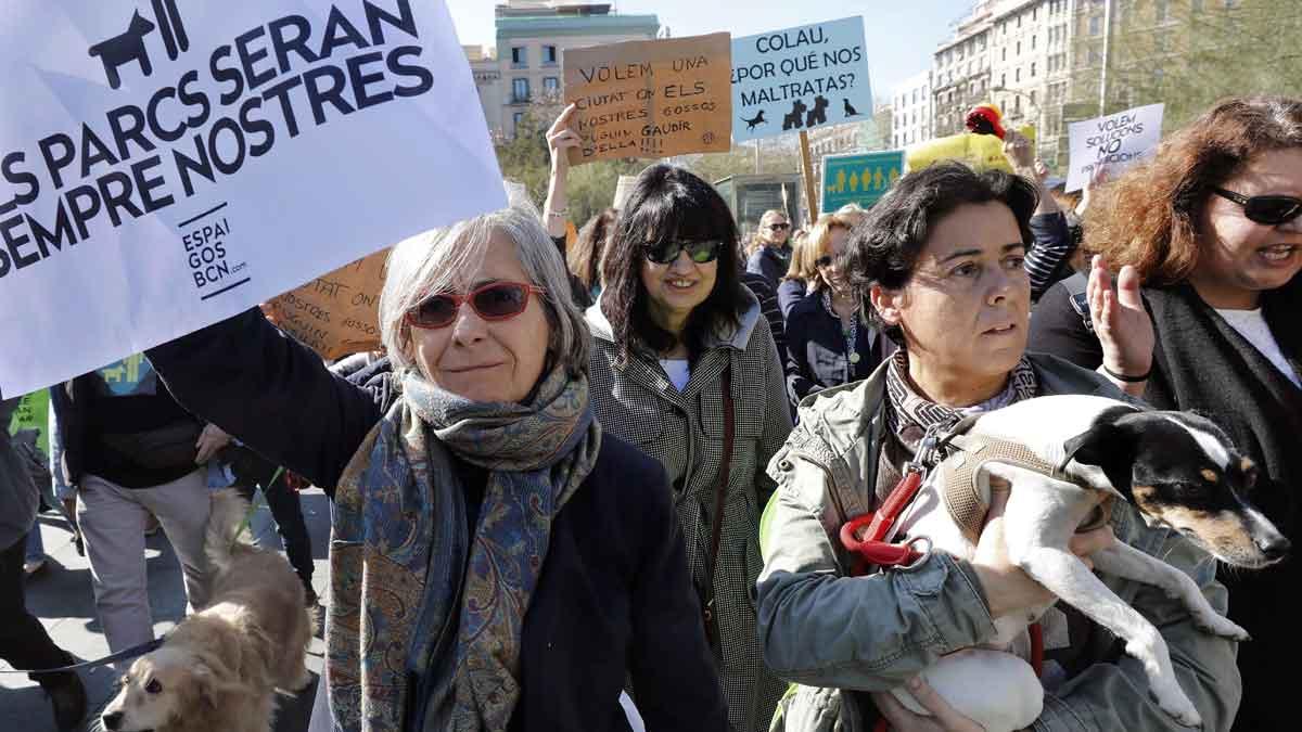 Dueños de perros se manifiestan en Barcelona por su derecho al uso del espacio público.