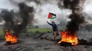 Enfrentamientos con soldados israelies en Gaza.
