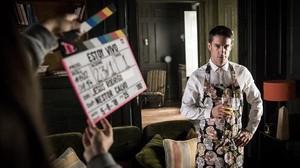 El actor Alejo Sauras, en el rodaje de la segunda temporada de Estoy vivo (TVE-1).