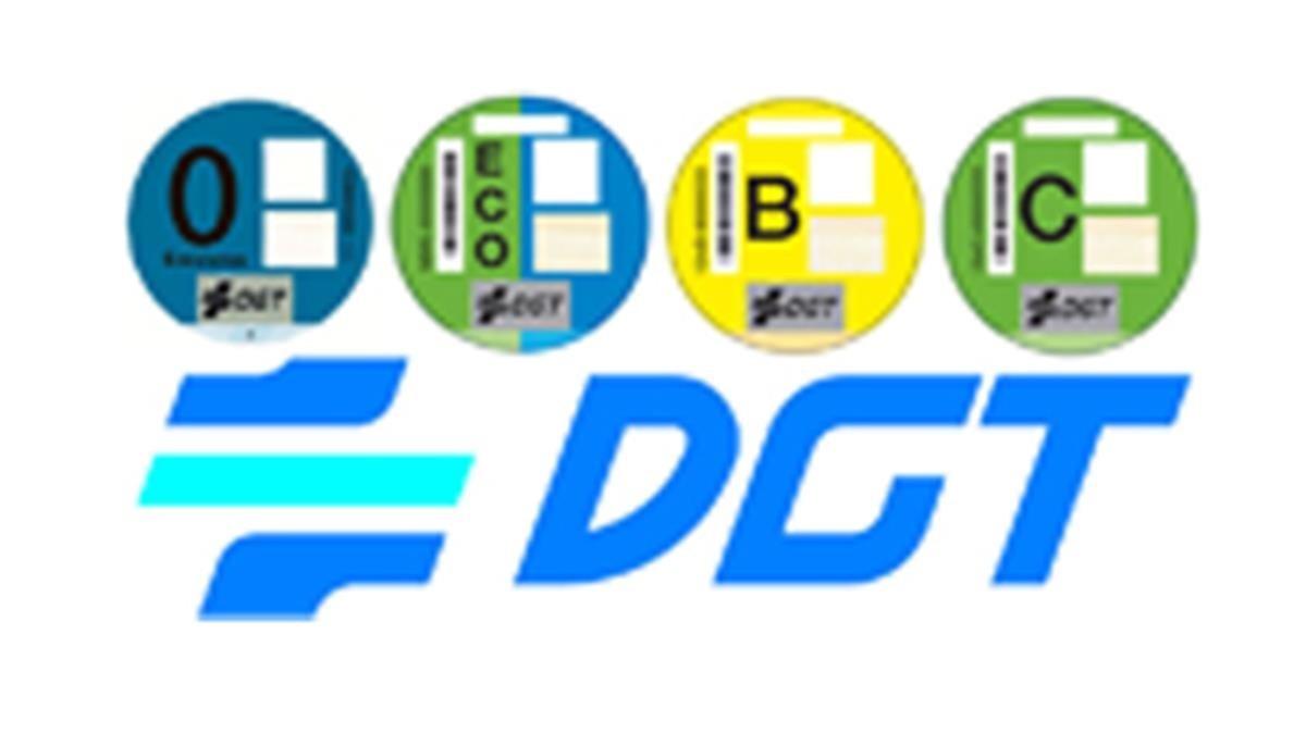 Etiquetas medioambientales de la DGT.