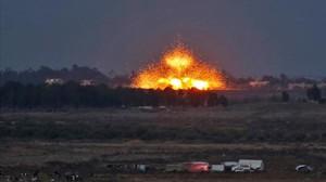 Explosiones provocadas por los bombardeos aéreos de las fuerzas gubernamentales el 24 de julio.