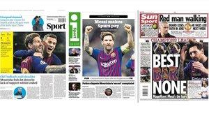 """La prensa inglesa se rinde a la """"clase magistral"""" de Messi"""