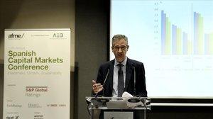 El gobernador del Banco de España, Pablo Hernández de Cos, en una acto de la AFME en Madrid.