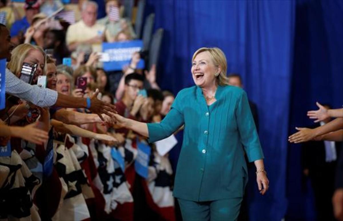 Hillary Clinton, en plena campaña en Des Moines, en agosto del 2016.
