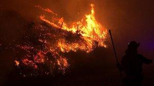 Imagen del incendio forestal en el municipio pontevedrés de Mondariz, que ha quemado 120 hectáreas