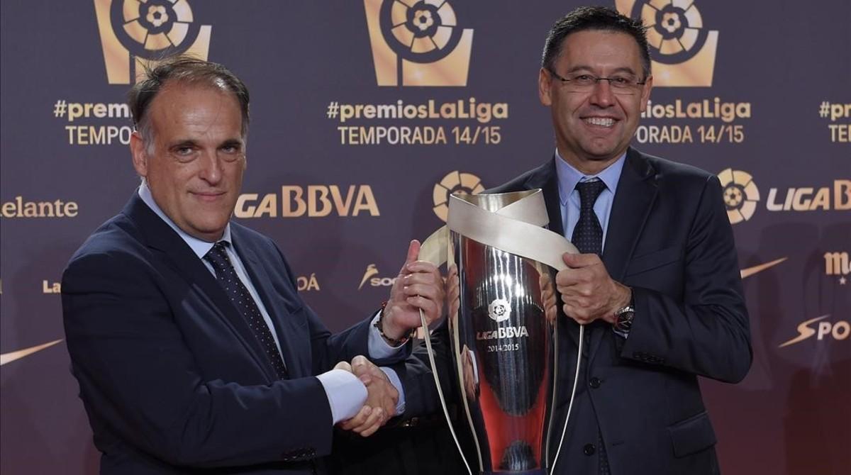 Javier Tebas y Josep Maria Bartomeu, en una imagen del 2015.