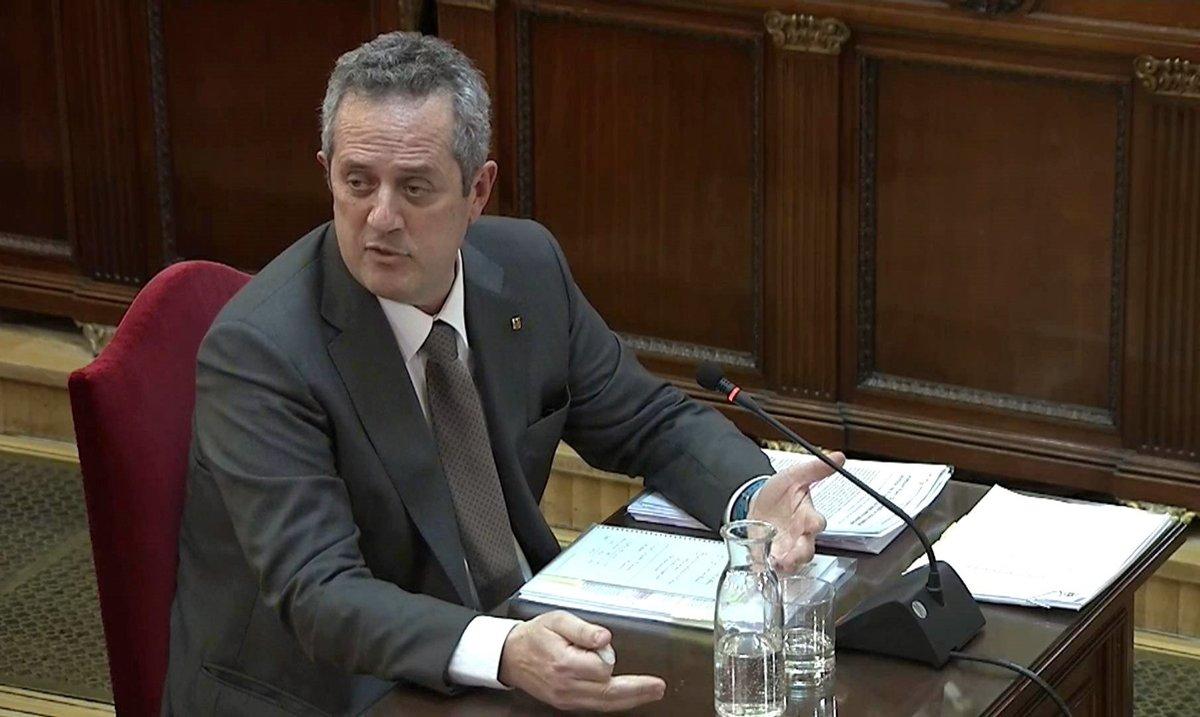 Joaquim Forn, durante su declaración en el Supremo, el pasado 14 de febrero.