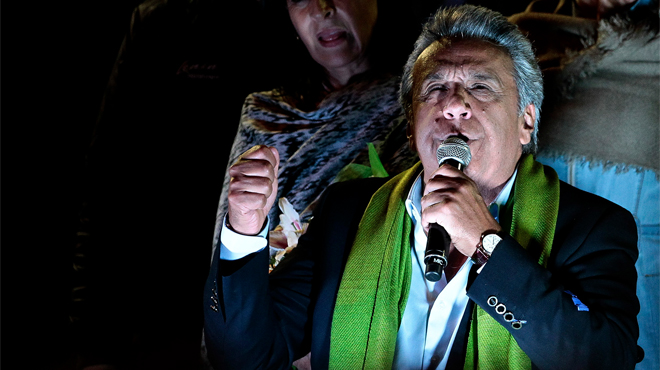 Seguirem transformant l'Equador que va iniciar fa 10 anys Rafael, ha celebrat Moreno referint-se a Rafael Correa.