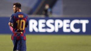 Leo Messi, al finalizar el Barça-Bayern, de Lisboa.