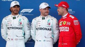 Lewis Hamilton, Valtteri Bottas y Sebastian Vettel, los más veloces en la 'quali' de Baku.