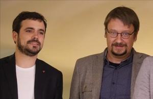 Los líderes de IU, Alberto Garzón, y de En Comú Podem, Xavier Domènech.
