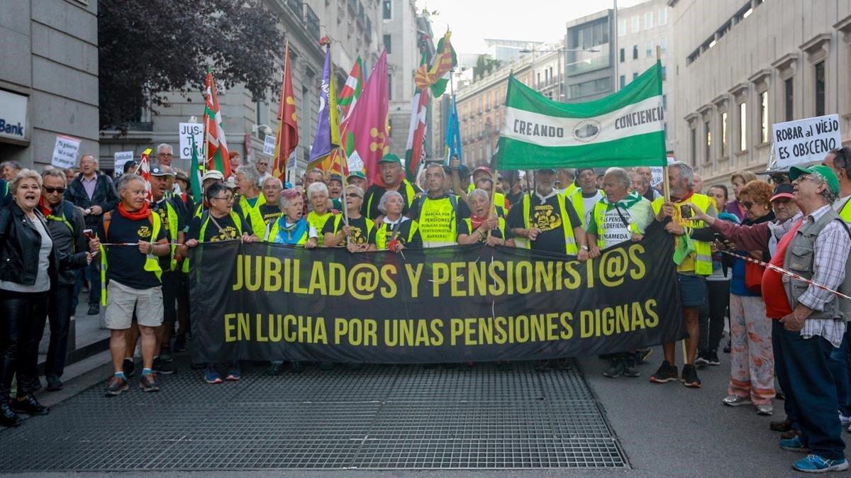 Manifestación en defensa de unas pensiones dignas.