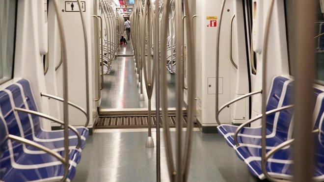 Un vagón de metro de Barcelona.