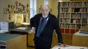 El diseñador gráfico Milton Glaser, en su estudio de la ciudad de Nueva York.