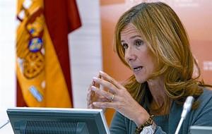 La ministra de Ciència, Cristina Garmendia, al presentar ahir els pressupostos del seu departament.