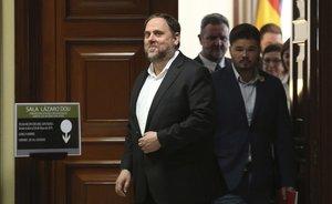 Oriol Junqueras cuando recogió su acta en el Congreso en mayo.