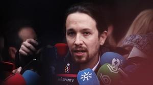 Pablo Iglesias a su llegada al consejo ciudadano estatal, en Madrid.