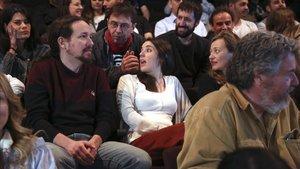 Pablo Iglesias, Irene Montero y Juan Carlos Monedero han acudido un cine para ver cortometrajes sobre el Medio Ambiente, en el día de reflexión.