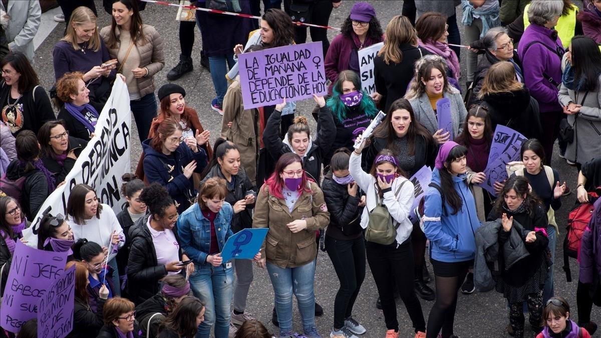 Pancarta de la manifestación del 8-M en Madrid.
