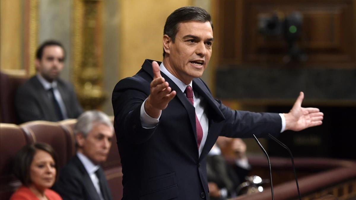 El presidente del Gobierno en funcionesPedro Sánchezenel hemiciclo del Congreso.