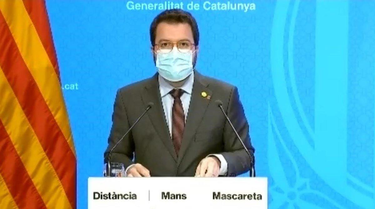 Pere Aragonès, durante la rueda de prensa tras el Consell Executiu extraordinario.