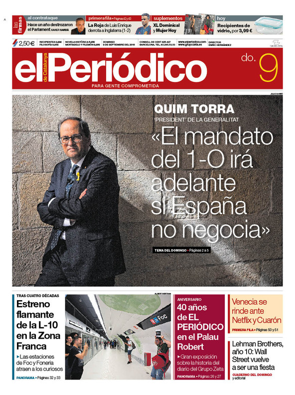La portada de EL PERIÓDICO del 9 de septiembre del 2018