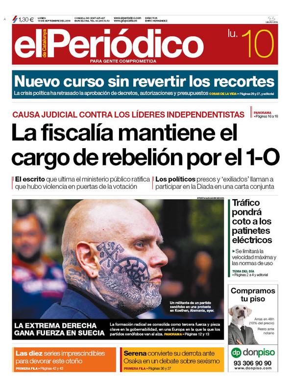La portada de EL PERIÓDICO del 10 de septiembre del 2018