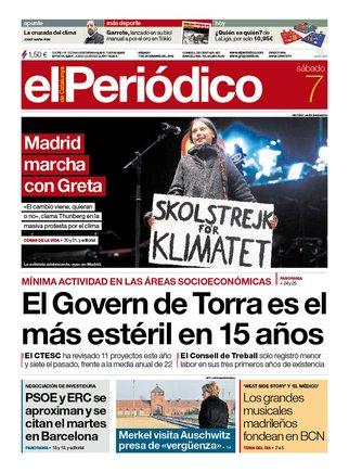 La portada de EL PERIÓDICO del 7 de diciembre del 2019