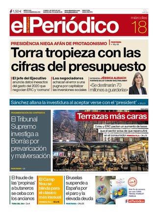 La portada de EL PERIÓDICO del 18 de diciembre del 2019.