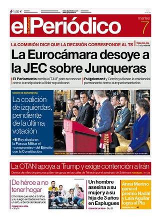 La portada de EL PERIÓDICO del 7 de enero del 2020.